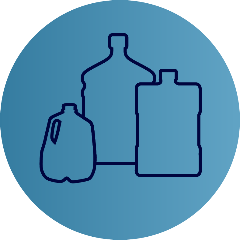 refill bottle jugs in three sizes icon