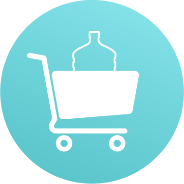 Shopping cart with water bottle icon
