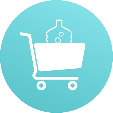 shopping cart with full water bottle jug icon teal