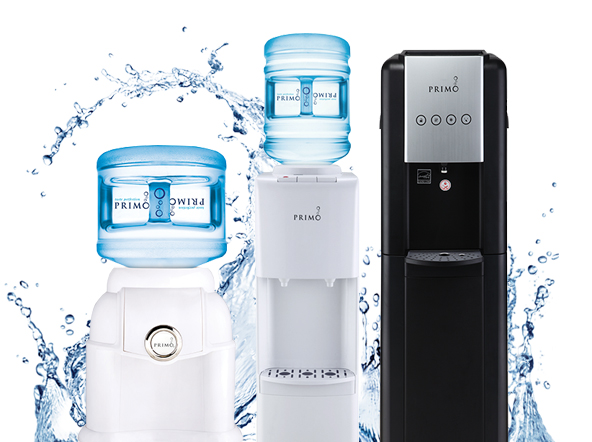 Three water dispensers with splash