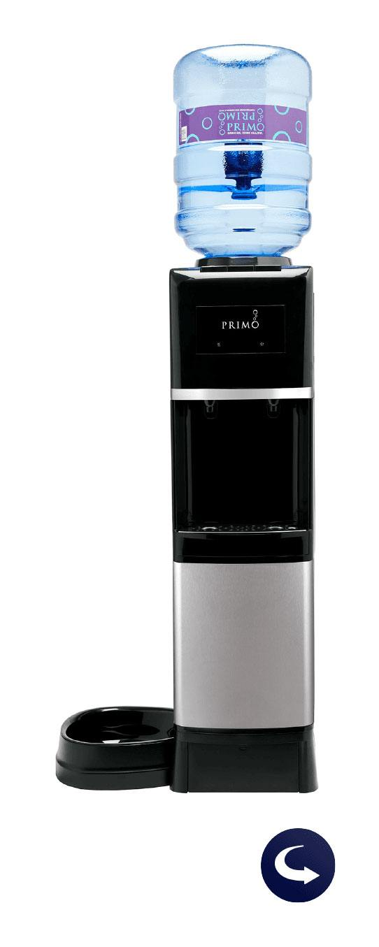 top loading water dispenser with pet station with flip icon